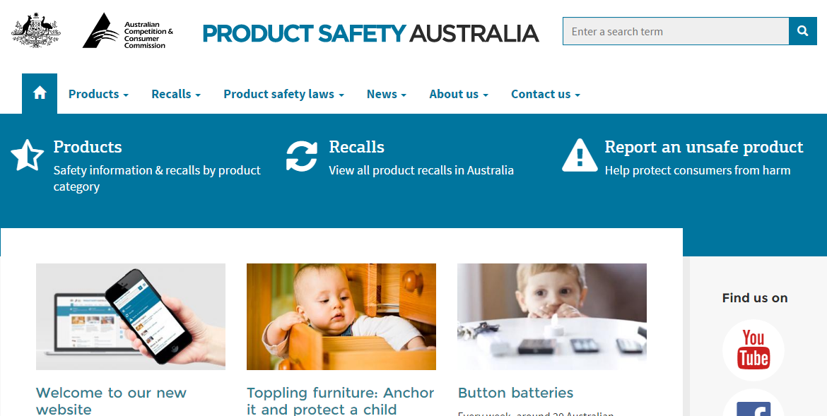 New and Improved Product Safety Australia website